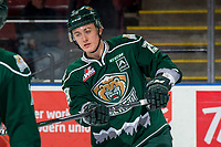 KELOWNA, BC - FEBRUARY 15:  Wyatte Wylie #29 of the Everett Silvertips warms up against the Kelowna Rockets at Prospera Place on February 15, 2019 in Kelowna, Canada. (Photo by Marissa Baecker/Getty Images)