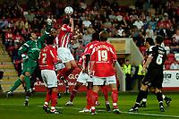Photo: Ed Godden.<br /> Cheltenham Town v Bristol City. Carling Cup. 22/08/2006.<br /> Cheltenham keeper Shane Higgs keeps out a Bristol corner.