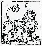 Zodiac sign of Leo .  From 'Sphaera mundi', Strasburg, 1539