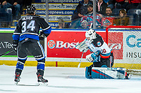 KELOWNA, BC - JANUARY 3: Roman Basran #30 of the Kelowna Rockets makes a first perod save on a shot by Kaid Oliver #34 of the Victoria Royals  at Prospera Place on January 3, 2020 in Kelowna, Canada. (Photo by Marissa Baecker/Shoot the Breeze)