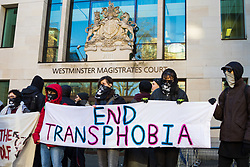 "A group of of transgender rights activists demonstrate outside Westminster Magistrates' Court to ""Free the Shewolf"", Tanis Jacob Wolf / aka Tara Flik Wood who is facing a charge of assault by beating of a 60 year old woman at Speaker's Corner in Hyde Park, London in September 2017.<br /> <br /> Wolf/Wood, 26, entered a plea of not guilty and was bailed to appear at Hendon Magistrates' Court in two months' time. London, February 15 2018."