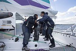 Yassir Al Rahbi (OMA) and Mohsin Al Busaidi (OMA) grinding on Oman Sail's MOD70 Musandam during Kiel week 2014, 22-06-2014, Kiel - Germany.
