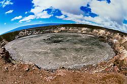 Halema'uma'u Crater and snowcapped Mauna Loa volcanic mountain in background, Kilauea Caldera, Hawaii Volcanoes National Park, Big Island, Hawaii, USA