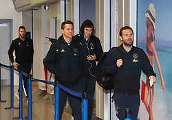 Victor Lindelof, David De Gea, Ander Herrera and Juan Mata of Manchester United are spotted on their way to catch a flight as the team fly to Turin on Tuesday afternoon to play Juventus in The Champions League on Wednesday night.