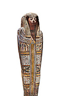 """Ancient Egyptian wooden sarcophagus - the tomb of Tagiaset, Iuefdi & Harwa circa 22nd Dynasty (943 - 716 BC.) Thebes. Egyptian Museum, Turin. white background.<br /> <br /> Coffin lid of the eldest woman buried in the tomb, probably Tagiasettahekat, wife of Padiau. The sarcophagus decoration includes representation of strips crossed over her chest typical of """"stoa coffin"""" of the 22nd dynasty. .<br /> <br /> If you prefer to buy from our ALAMY PHOTO LIBRARY  Collection visit : https://www.alamy.com/portfolio/paul-williams-funkystock/ancient-egyptian-art-artefacts.html  . Type -   Turin   - into the LOWER SEARCH WITHIN GALLERY box. Refine search by adding background colour, subject etc<br /> <br /> Visit our ANCIENT WORLD PHOTO COLLECTIONS for more photos to download or buy as wall art prints https://funkystock.photoshelter.com/gallery-collection/Ancient-World-Art-Antiquities-Historic-Sites-Pictures-Images-of/C00006u26yqSkDOM"""
