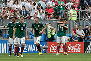 Hirving Lozano (R) of Mexico celebrates after his goal with Javier Hernandez during the 2018 FIFA World Cup Russia, Group F football match between Germany and Mexico on June 17, 2018 at Luzhniki Stadium in Moscow, Russia - Photo Thiago Bernardes / FramePhoto / ProSportsImages / DPPI