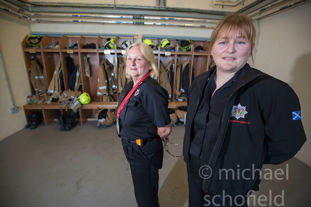 Watch Manager Lesley Jones with her daughter Sarah. News feature on the nearly all-female firefighting crew based at the Fire Shed, Lochaline, on the Morvern Peninsula.