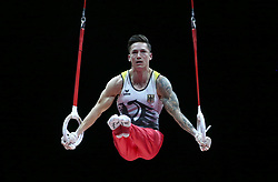 Germany's Marcel Nguyen competes on the rings in the Men's Apparatus Final during day eleven of the 2018 European Championships at The SSE Hydro, Glasgow. PRESS ASSOCIATION Photo. Picture date: Sunday August 12, 2018. See PA story GYMNASTICS European. Photo credit should read: Jane Barlow/PA Wire. RESTRICTIONS: Editorial use only, no commercial use without prior permission