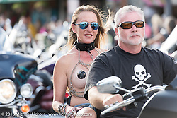 Ugly Steve Manier riding Main Street during the annual Sturgis Black Hills Motorcycle Rally.  SD, USA.  August 6, 2016.  Photography ©2016 Michael Lichter.