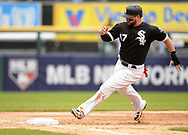 CHICAGO - MAY 01:  Yonder Alonso #17 of the Chicago White Sox runs the bases against the Baltimore Orioles on May 1, 2019 at Guaranteed Rate Field in Chicago, Illinois.  (Photo by Ron Vesely)  Subject:   Yonder Alonso