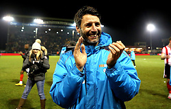Lincoln City manager Danny Cowley celebrates his sides win over Ipswich Town in the FA Cup - Mandatory by-line: Robbie Stephenson/JMP - 17/01/2017 - FOOTBALL - Sincil Bank Stadium - Lincoln, England - Lincoln City v Ipswich Town - Emirates FA Cup third round replay