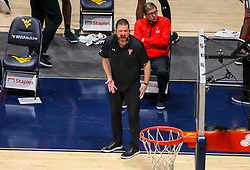 Jan 25, 2021; Morgantown, West Virginia, USA; Texas Tech Red Raiders head coach Chris Beard yells from the bench during the second half against the West Virginia Mountaineers at WVU Coliseum. Mandatory Credit: Ben Queen-USA TODAY Sports