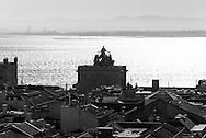 Portugal. Lisbon. elevated view on Baixa district and the Tagus , view from above / le quartier de Baixa vu d'en haut