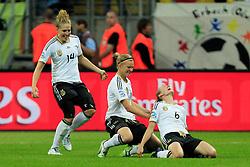 FUSSBALL: Frauen, WM 2011, Deutschland - Nigeria 1:0, Frankfurt, 30.06.2011<br /> Jubel von Deutschland nach dem Treffer zum 1:0: Torschuetzin Simone LAUDEHR (r.)<br /> © pixathlon *** Local Caption *** +++ www.hoch-zwei.net, copyright: HOCH ZWEI / Philipp Szyza +++