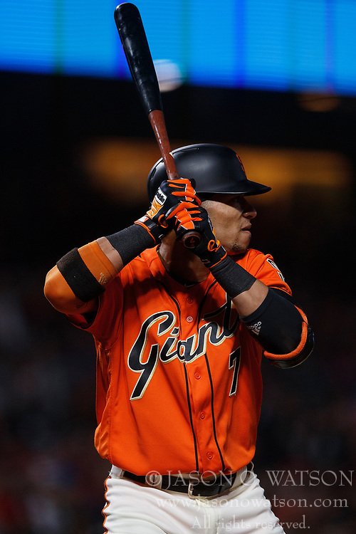 SAN FRANCISCO, CA - JULY 06: Gorkys Hernandez #7 of the San Francisco Giants at bat against the St. Louis Cardinals during the sixth inning at AT&T Park on July 6, 2018 in San Francisco, California. The San Francisco Giants defeated the St. Louis Cardinals 3-2. (Photo by Jason O. Watson/Getty Images) *** Local Caption *** Gorkys Hernandez