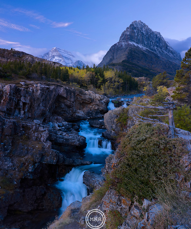 Early Morning at Swift current falls in Glacier National Park.