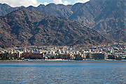 Aqaba, Jordan cityscape as seen from the Red Sea