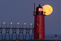 South Haven Lighthouse Peers into the Full Moon