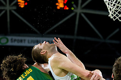 Uros Slokar of Slovenia faulted by Tiago Splitter of Brasil during friendly basketball match between National Teams of Slovenia and Brasil at Day 2 of Telemach Tournament on August 22, 2014 in Arena Stozice, Ljubljana, Slovenia. Photo by Vid Ponikvar / Sportida