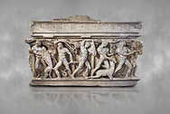"""Side panel of a Roman relief sculpted Hercules sarcophagus with kline couch lid, """"Columned Sarcophagi of Asia Minor"""" style typical of Sidamara, 250-260 AD, Konya Archaeological Museum, Turkey. .<br /> <br /> If you prefer to buy from our ALAMY STOCK LIBRARY page at https://www.alamy.com/portfolio/paul-williams-funkystock/greco-roman-sculptures.html . Type -    Konya     - into LOWER SEARCH WITHIN GALLERY box - Refine search by adding a subject, place, background colour, museum etc.<br /> <br /> Visit our ROMAN WORLD PHOTO COLLECTIONS for more photos to download or buy as wall art prints https://funkystock.photoshelter.com/gallery-collection/The-Romans-Art-Artefacts-Antiquities-Historic-Sites-Pictures-Images/C0000r2uLJJo9_s0"""