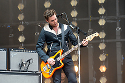 Mike Kerr of Royal Blood performing on The Pyramid Stage at the Glastonbury Festival, at Worthy Farm in Somerset.