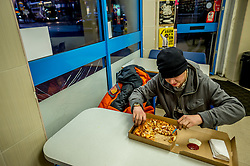 Mark receives no benefits and has spent over 6 month homeless. Some taleaway restaurants give meals to the homeless