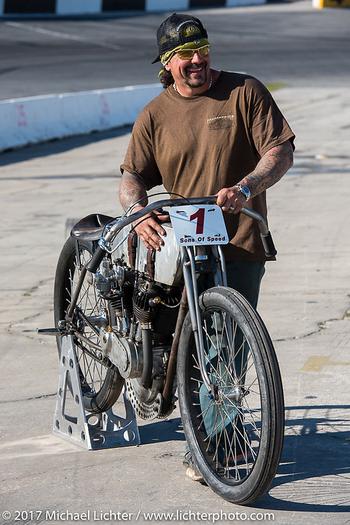 Billy Lane with his 1924 single-speed 1924 Harley-Davidson Model J 62 cubic inch racer after Billy's Son's of Speed race during Daytona Bike Week. New Smyrna Beach, FL. USA. Saturday March 18, 2017. Photography ©2017 Michael Lichter.