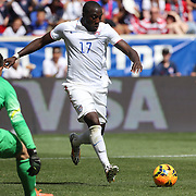 Jozy Altidore, (left), USA, prepares to shoot during the US Men's National Team Vs Turkey friendly match at Red Bull Arena.  The game was part of the USA teams three-game send-off series in preparation for the 2014 FIFA World Cup in Brazil. Red Bull Arena, Harrison, New Jersey. USA. 1st June 2014. Photo Tim Clayton