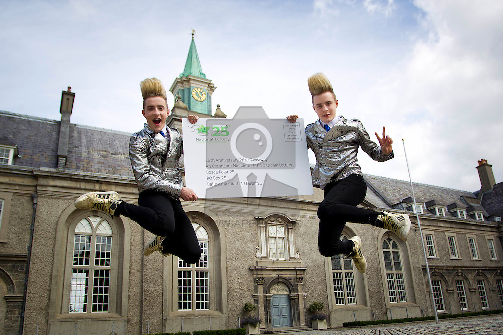 No Repro Fee 30/07/2012<br /> Jedward pictured in the Royal Hospital Kilmainham, Dublin 8 this morning at the launch of the National Lottery's 25th Anniversary €1 million Prize Giveaway Draw. <br /> This draw will be held on Sunday 16 September 2012 in the Royal Hospital Kilmainham, Dublin 8. It has a prize fund of €1,000,000, with a top prize to be won on the day of €250,000. In total, there will be 100 winners of this great promotion to celebrate the National Lottery's 25th Anniversary.<br /> All players are invited to send in their non-winning National Lottery tickets from today in special white envelopes – these are available in all National Lottery agent outlets. <br /> All non-winning National Lottery tickets, including Scratch Cards, which are eligible for prize validation, can be entered in this special celebration draw.  Picture Andres Poveda CPR<br />  <br /> ENDS<br /> Paula McEvoy<br /> PR Manager<br /> Tel:   + 353 (0) 1 836 4444     <br /> Fax:  + 353 (0) 1 836 6034      <br /> www.lottery.ie<br /> National Lottery, Abbey Street Lower, Dublin 1