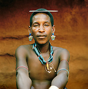 Portrait of Hamer tribesman wearing a comb in his hair, Turmi, Lower Omo Valley, Ethiopia