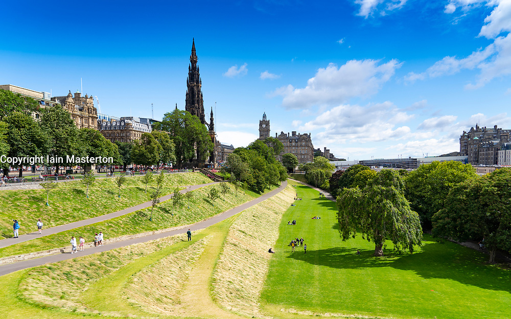 Edinburgh, Scotland, UK. 28 July, 2020. Business and tourism slowly returning to the shops and streets of Edinburgh city centre. The public returning to enjoy East Princes Street Gardens which have recently reopened after landscaping and drainage improvement works. Iain Masterton/Alamy Live News