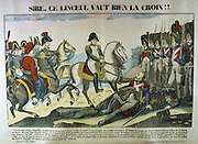 Napoleon I at the Battle of Ulm, 16-19 October 1805.  The outcome was a resounding French victory the capture of the entire Austrian army .  Napoleon speaking with a wounded French Grenadier. Popular 19th century hand-coloured woodcut.