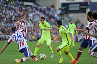 Atletico de Madrid´s Gimenez and FC Barcelona´s Lionel Messi during 2014-15 La Liga match between Atletico de Madrid and FC Barcelona at Vicente Calderon stadium in Madrid, Spain. May 17, 2015. (ALTERPHOTOS/Luis Fernandez)