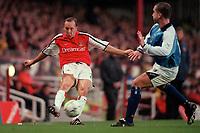 Lee Dixon (Arsenal)  Paul Ritchie (Manchester City). Arsenal v Manchester City, F.A.Carling Premiership, 28/10/2000. Credit Colorsport / Stuart MacFarlane.