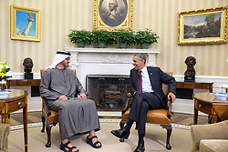 President Barack Obama talks with Crown Prince Mohammed Bin Zayed Al Nahyan of the United Arab Emirates in the Oval Office prior to a working lunch, April 20, 2015. (Official White House Photo by Pete Souza)<br /> <br /> This official White House photograph is being made available only for publication by news organizations and/or for personal use printing by the subject(s) of the photograph. The photograph may not be manipulated in any way and may not be used in commercial or political materials, advertisements, emails, products, promotions that in any way suggests approval or endorsement of the President, the First Family, or the White House.