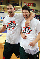 Celebration of Marko Milic, captain of Union Olimpija and Saso Ozbolt after fourth (last) final match of UPC Telemach league and Slovenian  National Championship  between KK Helios Domzale, Domzale and Union Olimpija, Ljubljana, Slovenia, on June 7, 2008, in Komunalni center hall in Domzale. Match was won by Union Olimpija 84:60 and Olimpija became National Champion 2007/2008 fourteen times in history of Slovenia. (Photo by Vid Ponikvar / Sportal Images)