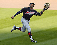 CHICAGO - MAY 23:  Rajai Davis #20 of the Cleveland Indians drops a fly ball for an error in the seventh inning against the Chicago White Sox during game one of a double header on May 23, 2016 at U.S. Cellular Field in Chicago, Illinois.  The White Sox defeated the Indians 7-6.  (Photo by Ron Vesely)   Subject:   Rajai Davis