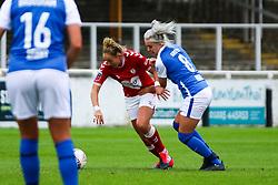Aimee Palmer of Bristol City Women is challenged by Abbi Grant of Birmingham City Women- Mandatory by-line: Will Cooper/JMP - 18/10/2020 - FOOTBALL - Twerton Park - Bath, England - Bristol City Women v Birmingham City Women - Barclays FA Women's Super League
