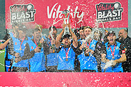 Champaigne is sprayed as Worcestershire Rapids lifts the Vitality Blast trophy with his team mates during the presentations during the final of the Vitality T20 Finals Day 2018 match between Worcestershire Rapids and Sussex Sharks at Edgbaston, Birmingham, United Kingdom on 15 September 2018.