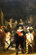 Detail of famous 17th Century painting by Rembrandt 'The Night Watch' at Rijksmuseum in Amsterdam, Holland