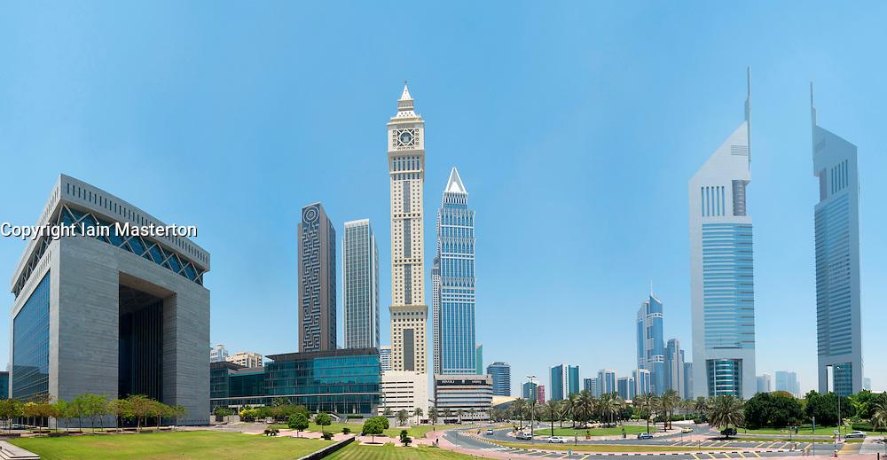 Panoramic skyline of financial district of Dubai United Arab Emirates