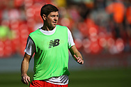 Steven Gerrard of Liverpool legends team looks on during the warm up. Liverpool Legends  v Real Madrid Legends, Charity match for the LFC Foundation at the Anfield stadium in Liverpool, Merseyside on Saturday 25th March 2017.<br /> pic by Chris Stading, Andrew Orchard sports photography.