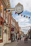 The 18th century historic Sir Cloudesley Shovell Corn Exchange clock 1771 in Rochester High Street, on 22nd July, in Rochester, England. The historic timepiece, a gift from Sir Cloudesley who was MP for Rochester from 1695 to 1701, has recently been restored at a cost of £40,000 after centuries of wear and tear took its toll and much of the clock had to be dismantled for safety reasons.