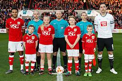 Mascots with captains Korey Smith of Bristol City and Richard Keogh of Derby County - Mandatory byline: Rogan Thomson/JMP - 19/04/2016 - FOOTBALL - Ashton Gate Stadium - Bristol, England - Bristol City v Derby County - Sky Bet Championship.