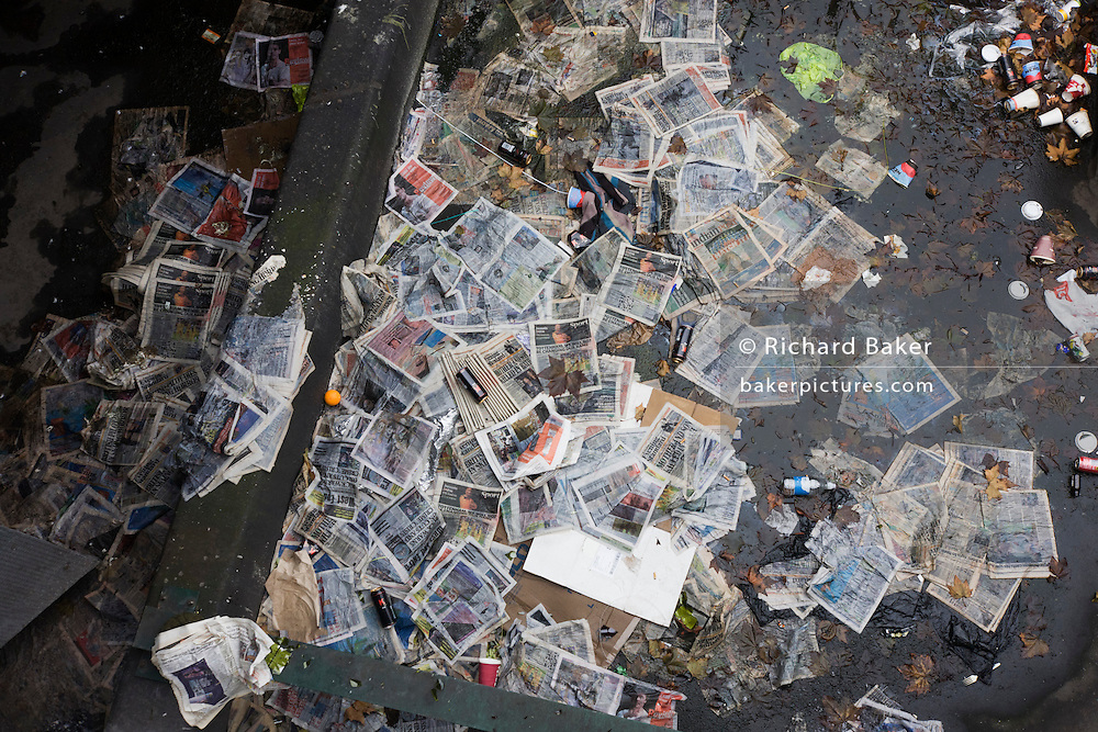 Piles of newspapers dumped on a London rooftop on the Embankment.