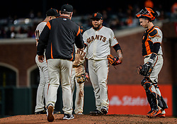 April 30, 2018 - San Francisco, CA, U.S. - SAN FRANCISCO, CA - APRIL 30: San Francisco Giants Pitcher Reyes Moronta (54) pulled from the mound during the San Francisco Giants and San Diego Padres game on April 30, 2018 at AT&T Park in San Francisco, CA. (Photo by Stephen Hopson/Icon Sportswire) (Credit Image: © Stephen Hopson/Icon SMI via ZUMA Press)