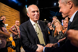 © Licensed to London News Pictures. 18/09/2018. Brighton, UK.  Liberal Democrat leader VINCE CABLE leaves the stage after delivering his leaders speech on the final day of the Liberal Democrat Autumn Conference in Brighton, East Sussex on September 18, 2018. This years event has been mainly focused around Brexit, the UK's departure from the EU. Photo credit: Ben Cawthra/LNP