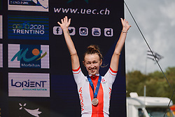 Kasia Niewiadoma (POL) in third place at the 2020 UEC Road European Championships - Elite Women Road Race, a 109.2 km road race in Plouay, France on August 27, 2020. Photo by Sean Robinson/velofocus.com
