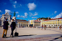 Portugal, Lisbonne, Portugal, quartier de Baixa pombalin, Praca do Comercio ou Place du Commerce // Portugal, Lisbon, Praca do Comercio, or Commerce Square. It is also known as Terreiro do Paco, or Palace Square after the Royal Palace which stood there and was destroyed by the 1755 earthquake