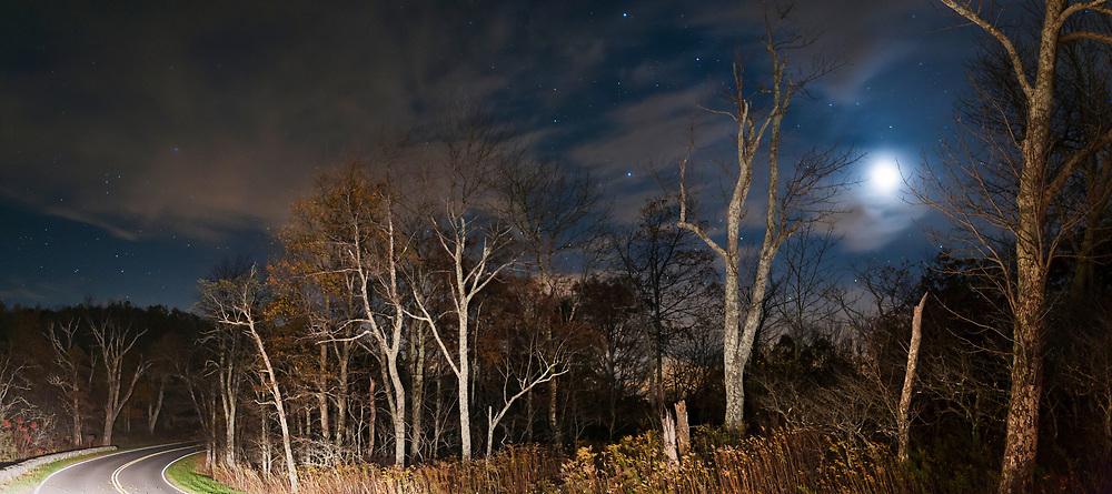 Moonlit night over Skyline Drive. Shenandoah National Park. Virginia